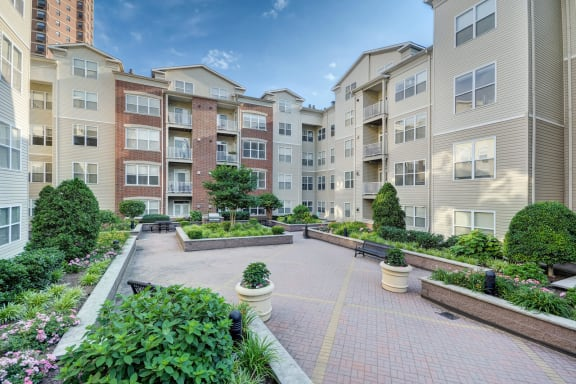 Professionally-Landscaped Courtyards at Windsor at Liberty House, Jersey City, New Jersey