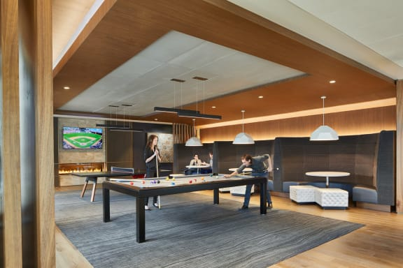 Game Room with Billiards Table at Stratus, Seattle, WA