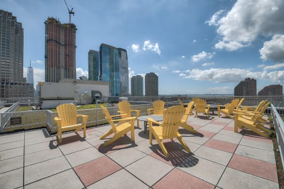 Rooftop Deck with Stunning Views at Warren at York by Windsor, Jersey City, 07302