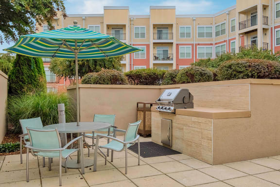Outdoor entertainment kitchen with BBQ Grills at The Ridgewood by Windsor, Fairfax, 22030