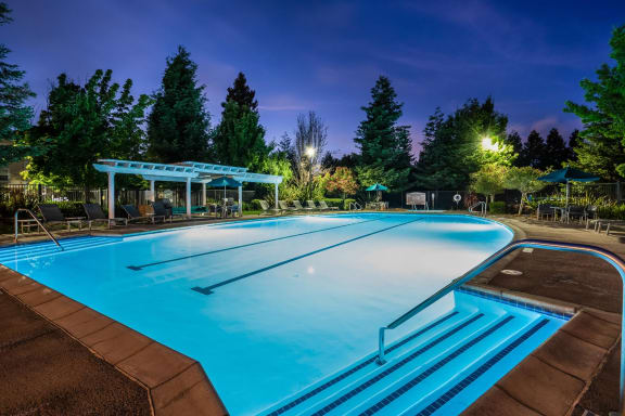 Lighted Pool at Night at Windsor at Redwood Creek, Rohnert Park, California