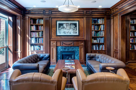 Wood paneled library at The Woodley, 2700 Woodley Road, NW, Washington, DC
