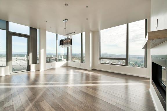 Hardwood style flooring at The Bravern, WA, 98004