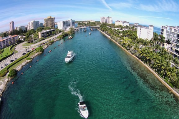 Boats in waterway in Boca Raton, FL