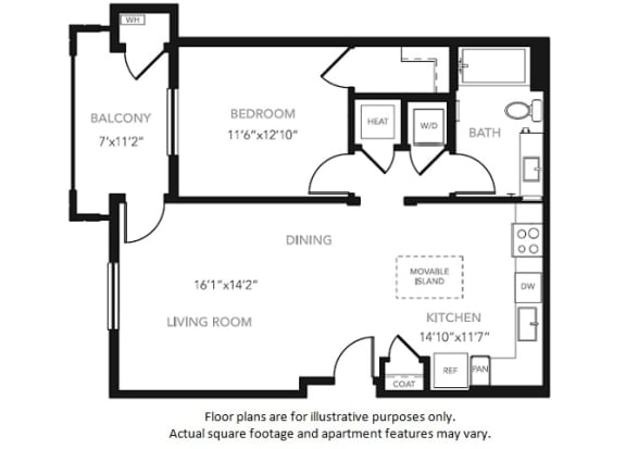 Floor Plan  A1 One Bedroom One Bath Floor Plan at Blu Harbor by Windsor, 1 Blu Harbor Blvd, CA