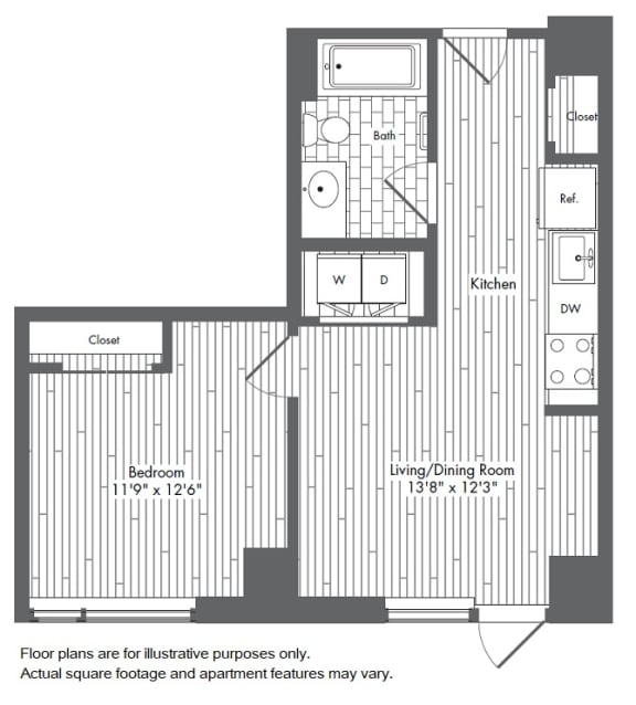 Floor Plan  A1 1 Bed 1 Bath Floor Plan at Waterside Place by Windsor, Boston, 02210