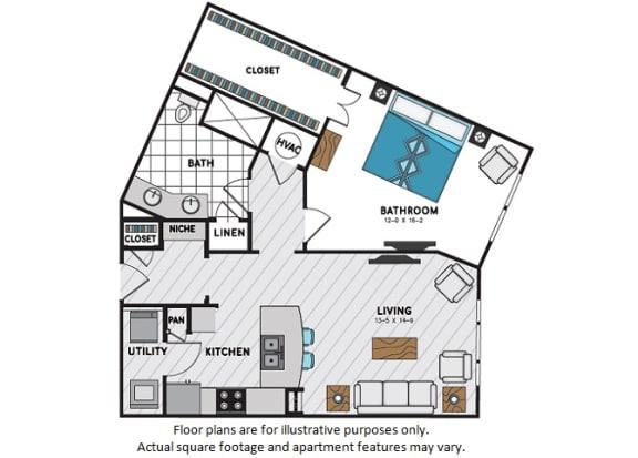 Floor Plan  A10 One Bedroom One Bath Floor Plan at Windsor Chastain, 225 Franklin Rd NE, Atlanta