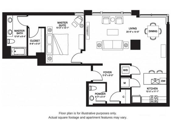 Floor Plan  A12 South(1) floor plan at The Bravern, Bellevue, Washington