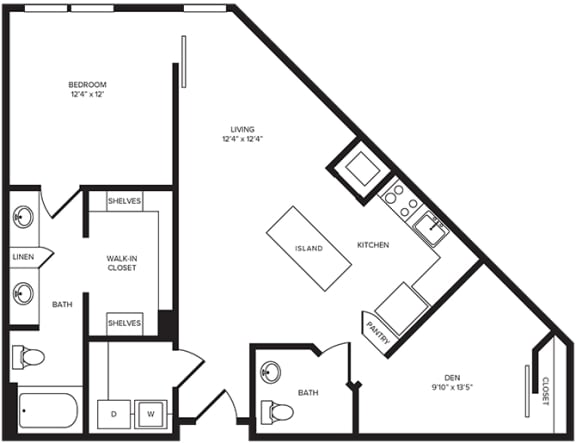 Floor Plan  A13D floor plan at Windsor Turtle Creek, 3663 Cedar Springs Rd, 75219