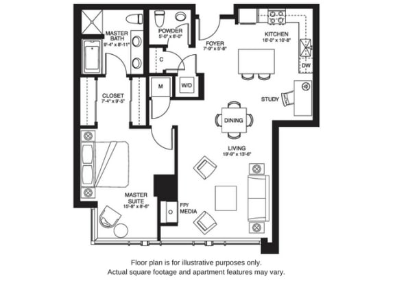 Floor Plan  A15 South floor plan at The Bravern, Bellevue, Washington
