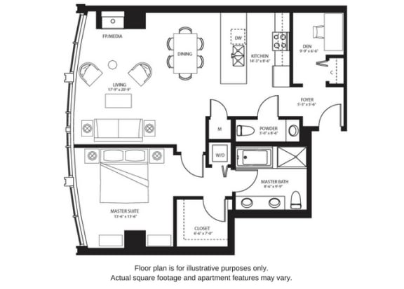 Floor Plan  A16 North floor plan at The Bravern, 688 110th Ave NE, 98004