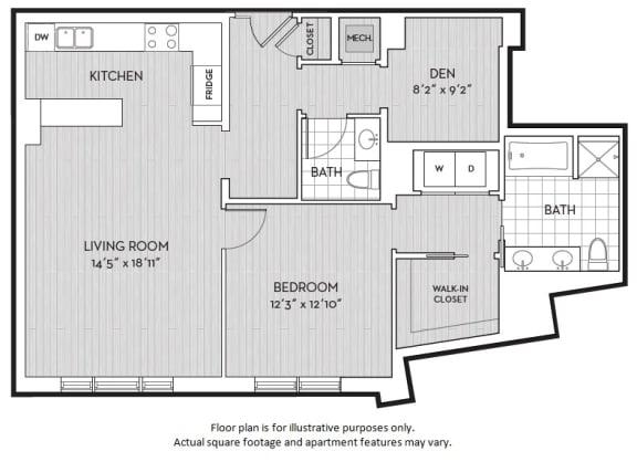 Floor Plan  A16 floor plan at The Woodley, Washington, DC 20008, opens a dialog