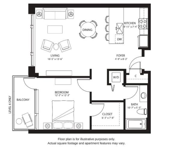 Floor Plan  A1 Floor plan at The Bravern, Bellevue, WA
