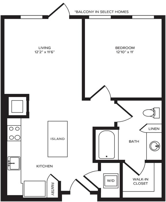 Floor Plan  A2(2) floor plan at Windsor Turtle Creek, Texas, 75219