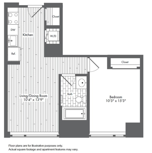 Floor Plan  A2 1 Bed 1 Bath Floor Plan at Waterside Place by Windsor, Massachusetts, 02210