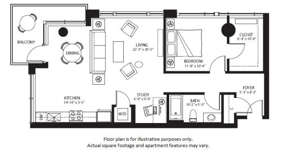 Floor Plan  A20 North NEWb floor plan at The Bravern, Washington, 98004, opens a dialog