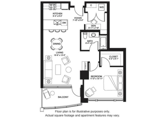 Floor Plan  A21 South at The Bravern, Bellevue, Washington