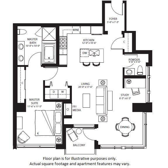 Floor Plan  A22 North NEW floor plan at The Bravern, 688 110th Ave NE, 98004