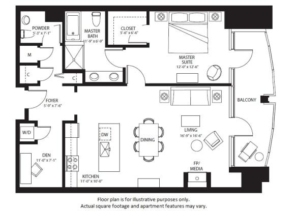Floor Plan  A23 North NEW floor plan at The Bravern, Bellevue, WA