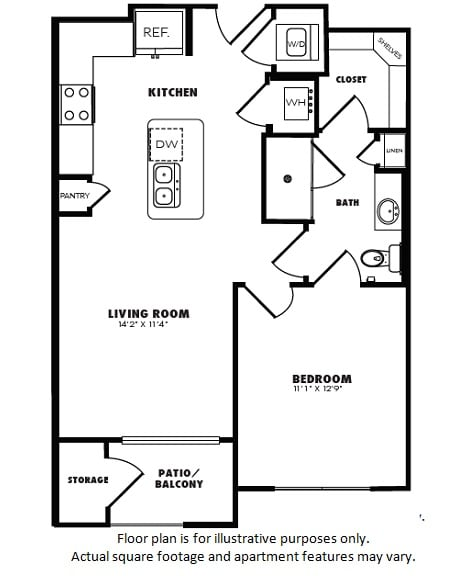 A2A floor plan at Windsor Burnet, Austin, Texas