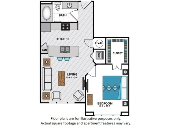 Floor Plan  A2 One Bedroom One Bath Floor Plan at Windsor Chastain, 225 Franklin Rd NE, GA