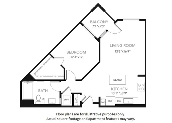 Floor Plan  A2 -W One Bedroom One Bath Floor Plan at Blu Harbor by Windsor, 1 Blu Harbor Blvd, Redwood City