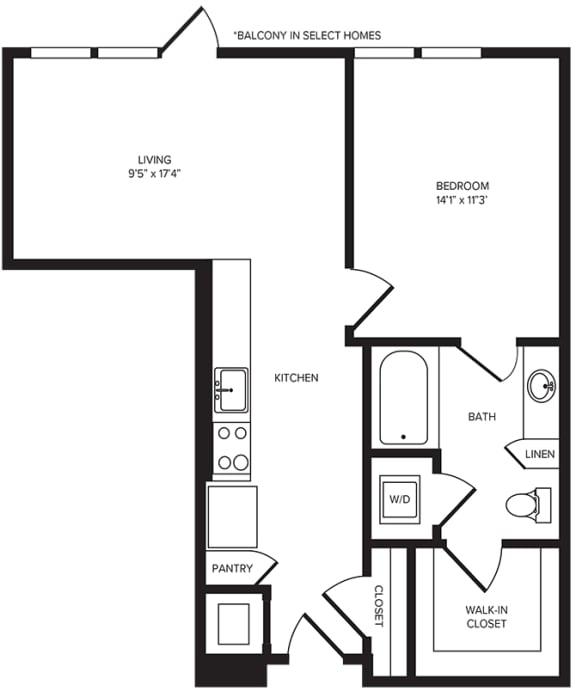 Floor Plan  A3 floor plan at Windsor Turtle Creek, Dallas, TX
