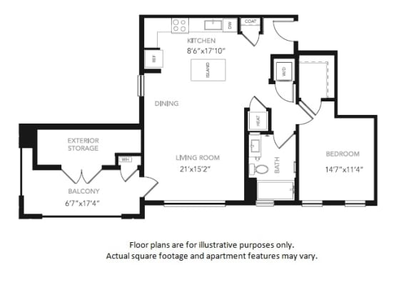 Floor Plan  A3 One Bedroom One Bath Floor Plan at Blu Harbor by Windsor, CA, 94063