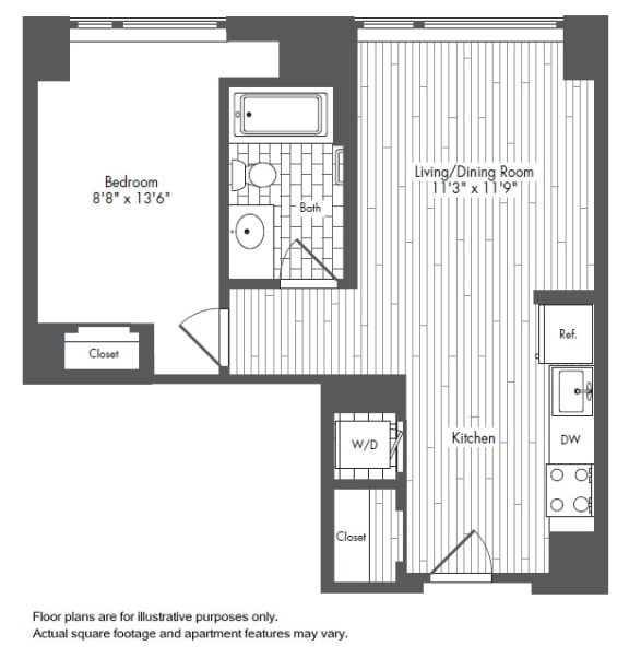 Floor Plan  A3 1 Bed 1 Bath Floor Plan at Waterside Place by Windsor, Boston, MA, 02210