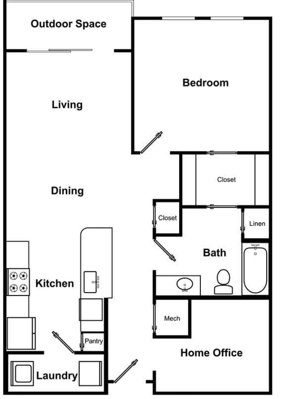 Floor Plan  1 Bed 1 Bath Floor Plan with Home Office at The Encore by Windsor, Atlanta, GA