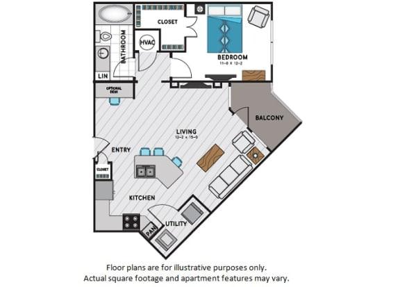 A3 One Bedroom One Bath Floor Plan at Windsor Chastain, Atlanta, GA