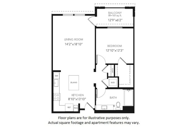 Floor Plan  A3-W One Bedroom One Bath Floor Plan at Blu Harbor by Windsor, 1 Blu Harbor Blvd, Redwood City