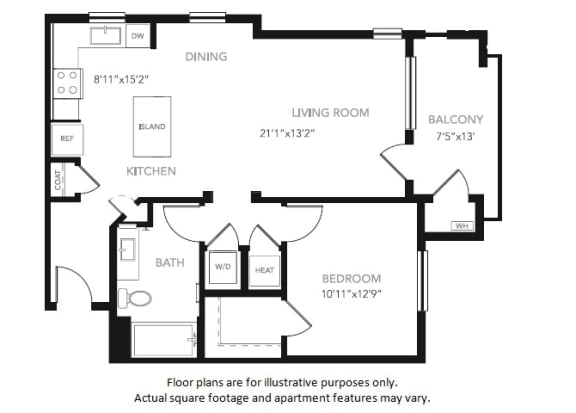 Floor Plan  A4 One Bedroom One Bath Floor Plan at Blu Harbor by Windsor, Redwood City, California