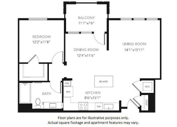 Floor Plan  A4-W One Bedroom One Bath Floor Plan at Blu Harbor by Windsor, Redwood City, CA