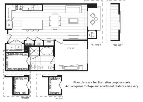 Floor Plan  A5 floor plan at Windsor Oak Hill, Austin, TX