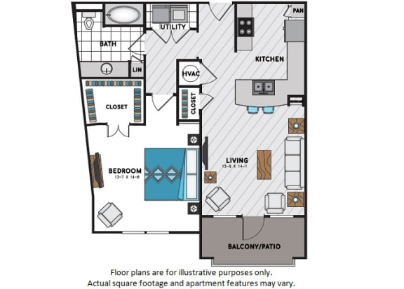 Floor Plan  A5 One Bedroom One Bath Floor Plan at Windsor Chastain, Atlanta, GA