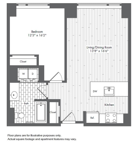 Floor Plan  A6 1 Bed 1 Bath Floor Plan at Waterside Place by Windsor, Boston