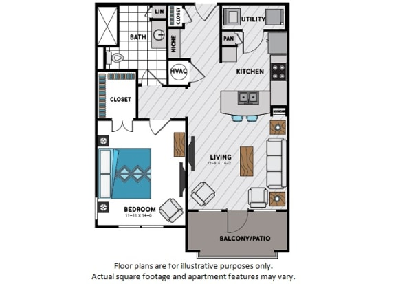 Floor Plan  A6 One Bedroom One Bath Floor Plan at Windsor Chastain, 225 Franklin Rd NE, GA
