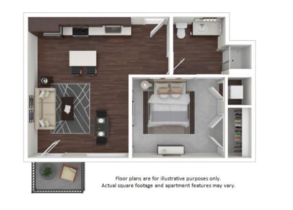 Floor Plan  A7 3D disclaimer floor plan at The Casey, Colorado, 80202