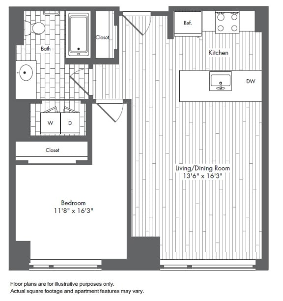 Floor Plan  A7 1 Bed 1 Bath Floor Plan at Waterside Place by Windsor, Massachusetts