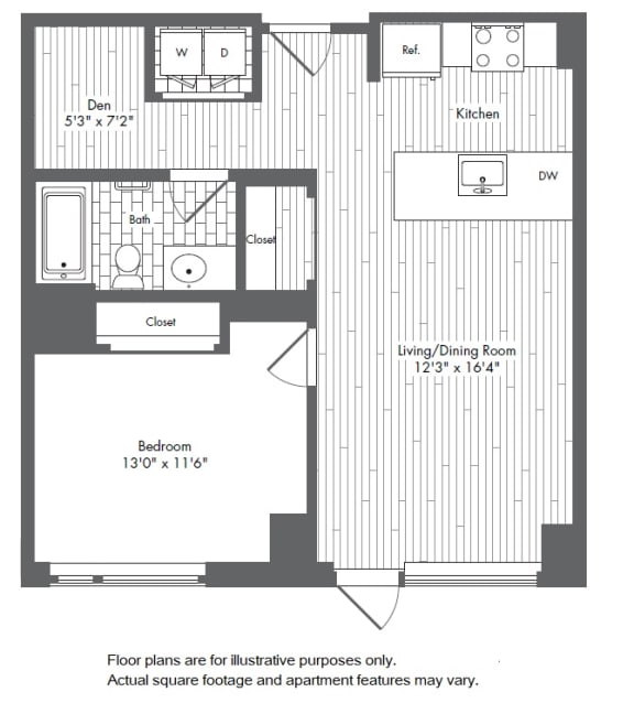 Floor Plan  A8 1 Bed 1 Bath Floor Plan at Waterside Place by Windsor, Boston, Massachusetts