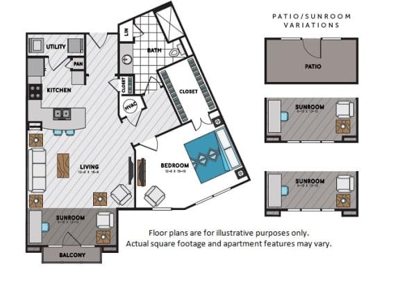 Floor Plan  A8 One Bedroom One Bath Floor Plan at Windsor Chastain, 225 Franklin Rd NE, Atlanta