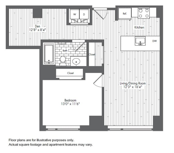 Floor Plan  A9 1 Bed 1 Bath Floor Plan at Waterside Place by Windsor, Massachusetts