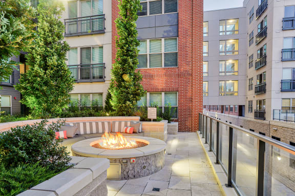 Fire pit with seating at 7770 Norfolk, Bethesda, Maryland