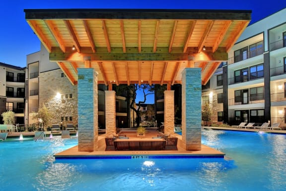 Resort-Style Pool with Swim-Up Lounge at Windsor Ridge, Austin, TX, 78727