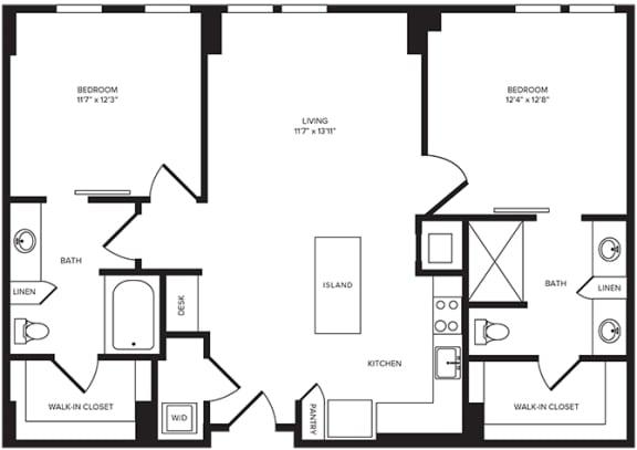 Floor Plan  B1(3) floor plan at Windsor Turtle Creek, Dallas, TX