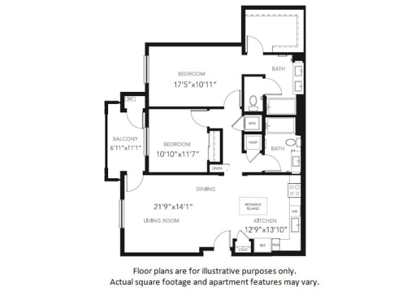 Floor Plan  B1 Two Bedroom Two Bath Floor Plan at Blu Harbor by Windsor, 1 Blu Harbor Blvd, Redwood City
