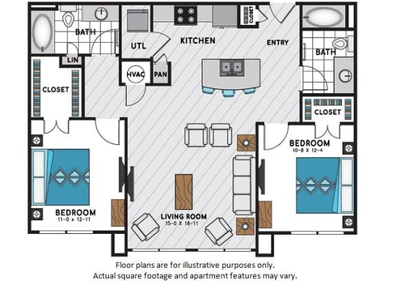 Floor Plan  B1 Two Bedroom Two Bath Floor Plan at Windsor Chastain, Atlanta, Georgia