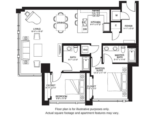 B12 South floor plan at The Bravern, 688 110th Ave NE, 98004