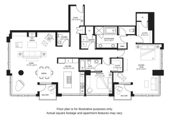 Floor Plan  B18 floor plan at The Bravern, Bellevue, WA